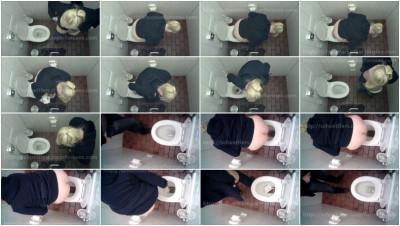 Blonde girl scat spy cam public toilet
