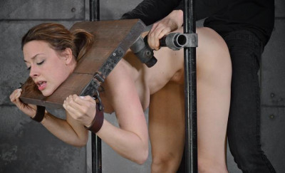Chanel Preston stuck in stocks and worked over by 2 cocks and brutal deepthroat