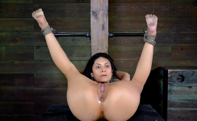 Beautiful Beretta James Bound Down And Worked Over By 2 Dicks, Deep Throating And BBC