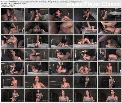 Tiny Amber deepthroats 10 inches of black cock, Rough anal sex and bondage , HD 720p