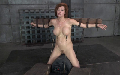 Stunning busty MILF Veronica Avluv does brutal drooling deepthroat while crucified on a sybain