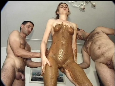 Description A horny younger slut in threesome scat sex