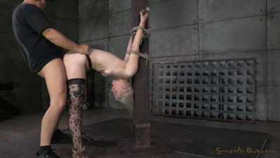 Blonde Texan Ella Nova lashed to the breeding post and used by 2 big cocks