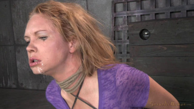 Bound Busty Blonde Does Epic Deepthroat On 2 Hard Cocks, Fucked Rough And Hard