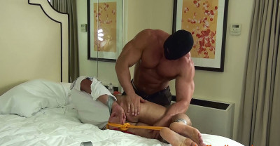 Derek Atlas hogtied  and stripped