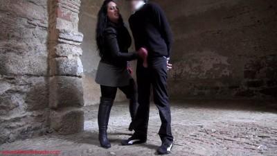 Mistress Ezada Sinn-Ruining a stalker's balls and orgasm