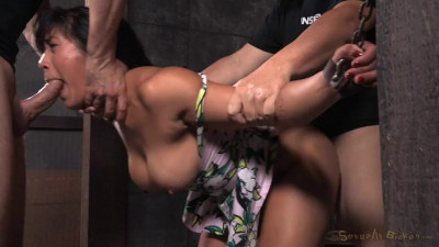 Mia Li bent over, chained down and roughly fucked from both ends by big dick!