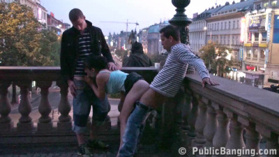 Girl fucked right on the balcony of a building