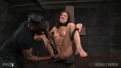 Kalina Ryu - Belt bound bondage slut facefucked and made to cum (2015)