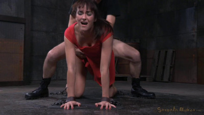 Brunette Bianca Breeze Bound Doggystyle With Rough Three Way Sex And Brutal Drooling Deepthroat