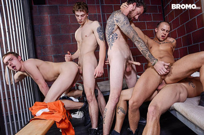 Barebacked In Prison — Sebastian, Eli, Zane, Donny and Rocko