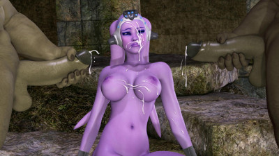 3d Purple Babu fuck two orc