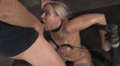 Epic deepthroat done by busty blonde Angel Allwood, strictly bound and facefucked by 2 cocks!