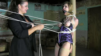 Extreme bondage, torture and hogtie for horny girl