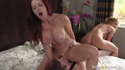 Two Hot Milfs And One Young Cock
