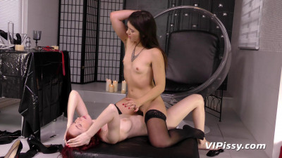 Brunette and Redhead fuck in the urine