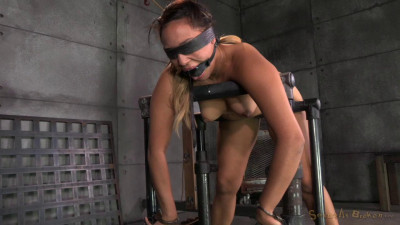 Tiny 4 11 Tinslee Reagan blindfolded, bend over and used hard and rough from both ends by big dick!