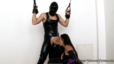 Busty Mistress in latex gives tied up slave sloppy blowjob