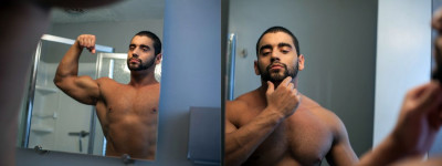 Body Builder Angelo Antonio showers shaves and jerks off