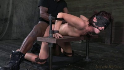 SexuallyBroken Tall sexy MILF bound is custom metal and leather bondage