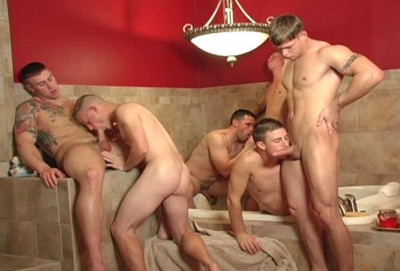 Orgy in military-style