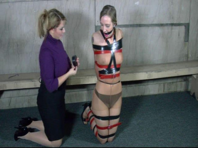 Encased In Pantyhose And Tightly Strapped And Taped