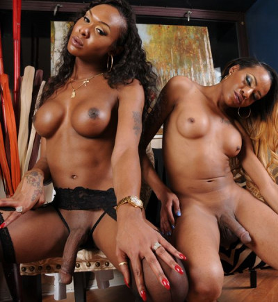 Two Hot Ebony Trans Girls Are Smokin And Strokin All For You!