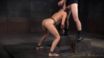 Nubile newbie Nikki Knightly bound down and roughly fucked, taken from both ends by hard cock!
