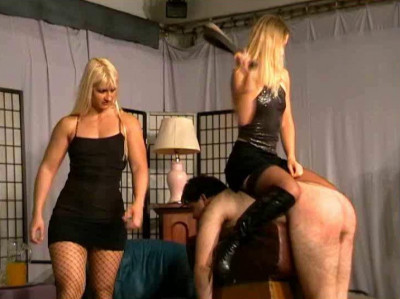 Madame Kate and Madame Zita introduce a pathetic slave to their two Mistress friends