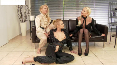 On staged three lesbian party and wet rain