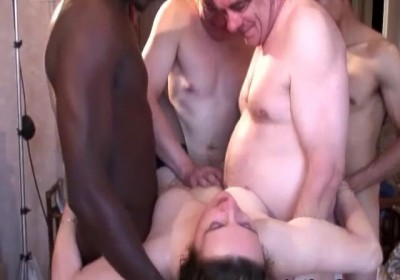Blonde mature slut gang banged