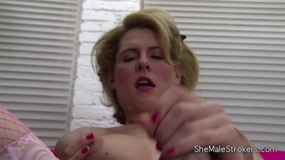 Leggy Blonde Tranny Cums On Her Tummy