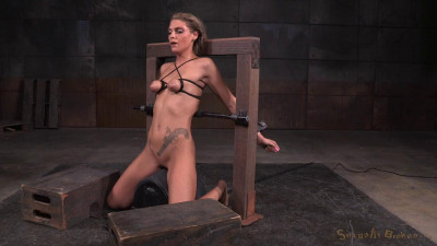 Tan Stevie Smith shackled to sybian in breast bondage facefucked into a drooling mess! (2015)