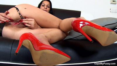 Brunettes are red heels under her beautiful pussy