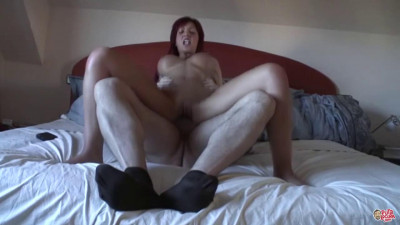 Redhead whore fucks freak