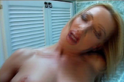 Blonde amateur toys pussy in bathroom