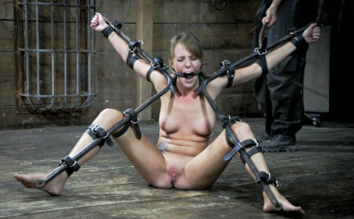 Girl in super iron bondage