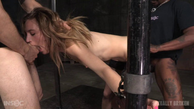 Mona Wales - Pretty pale fuck toy bound on sybian and used hard by two big dicks (2016)