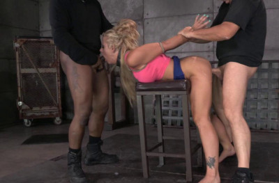 Sexy MILF Holly Heart caged, trained for epic deepthroat on BBC, fucked rough and hard by 2 cocks!