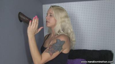 Tiny blonde sucks Enormous black Dick through a gloryhole