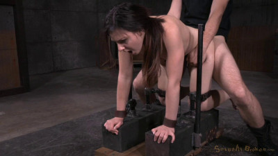 Amy Faye bent over and bound doggystyle, vibrated to orgasm with brutal deepthroat!