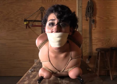 Tight bondage, hogtie and torture for hot brunette with big ass