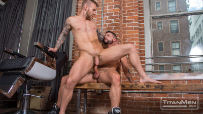 Tex gives Damien his huge barber pole!