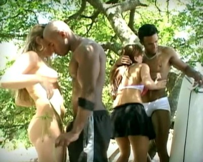 Steamy outdoor orgy