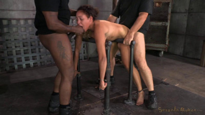 SeTiny 4'11 Tinslee Reagan blindfolded, bend over and used hard and rough from both ends by bi
