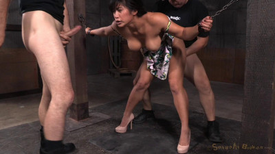 Big breasted Mia Li bent over, chained down and roughly fucked from both ends by big dick!