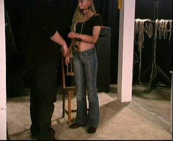 Gets Bound On Tip Toe By Her Hair And Breasts, Spanked And Given