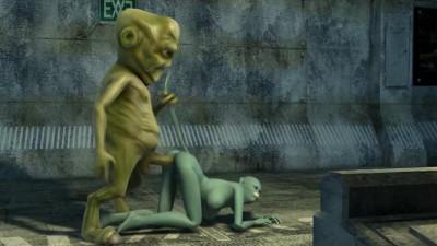 Alien monster attacks a real 3D