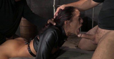 Lean Latina Lyla Storm bed bound in leather straightjacket, rough sex and brutal gagging deepthroat!