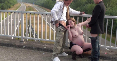 Pregnant Freeway Threesome